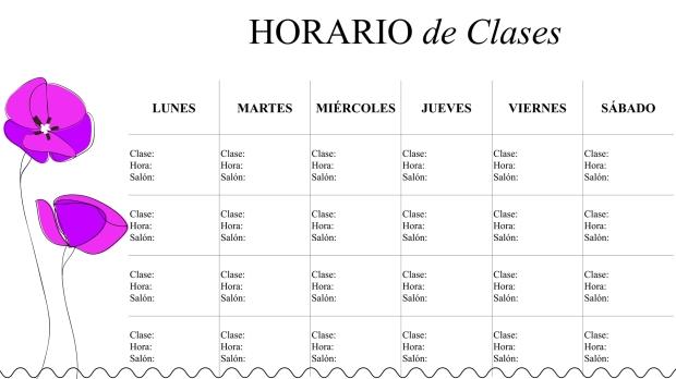 horario-flores-elegante-clases-modelo